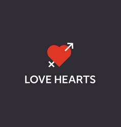 Modern professional sign logo love hearts vector