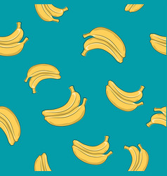 Seamless pattern banana on azure background vector