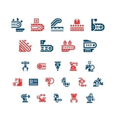 Set color icons of conveyor and robotic industry vector image