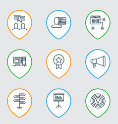 Set of 9 project management icons includes vector