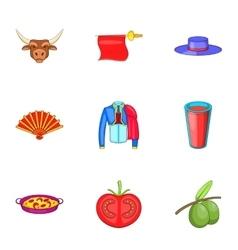 Spain icons set cartoon style vector
