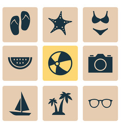 Sun icons set collection of star trees ship and vector