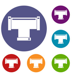 T pipe connection icons set vector