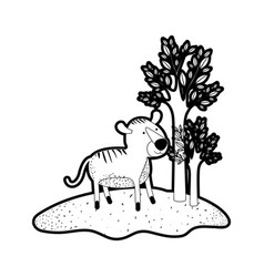 Tiger cartoon in forest next to the trees in black vector