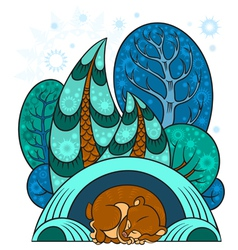 Winter forest and the bear is sleeping vector image vector image