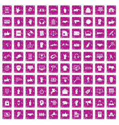 100 different gestures icons set grunge pink vector