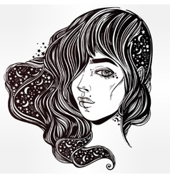 The face ofa girl with stars in her hair vector image