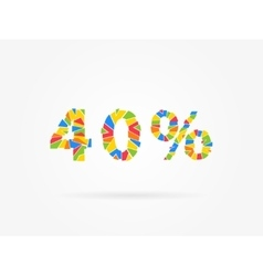 Discount 40 percent colorful vector