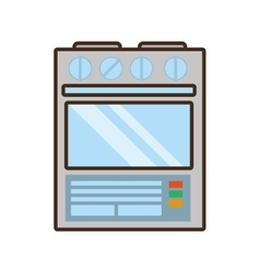 Cartoon gas stove appliance kitchen home vector