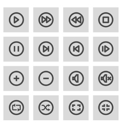 Line media buttons icons set vector
