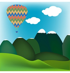 Hot air ballon mountain landscape vector