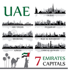 All the capital cities of the united arab emirates vector