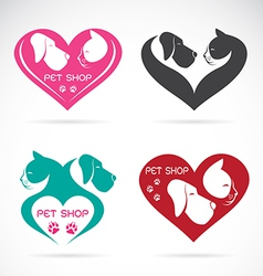 Image of an dog and cat with heart vector