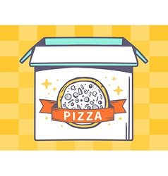 Open box with icon of pizza on yellow pa vector