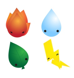 Four element cute mascot vector
