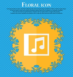 Audio mp3 file floral flat design on a blue vector