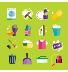 Cleaning icons set clean service vector image