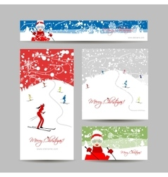 Business cards design people skiing winter vector