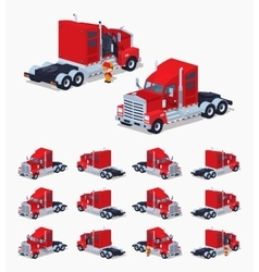 Red heavy american truck vector