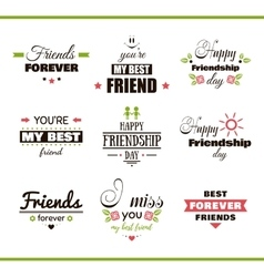 Happy friendship day color set vector