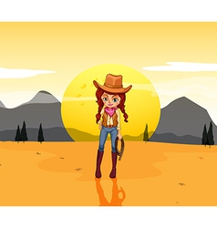 A cowgirl at the desert vector image
