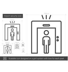 Airport security line icon vector