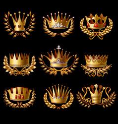 Beautiful gold royal crowns set vector