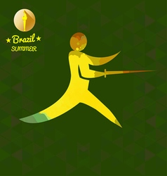 Brazil summer sport card with an yellow abstract f vector
