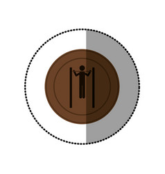 brown symbol person do exercise gym vector image vector image