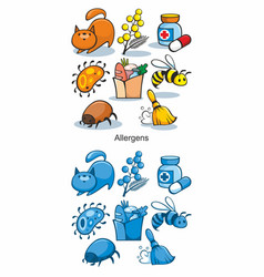 Cartoon allergen icons set vector