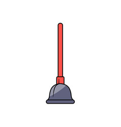 Cartoon plunger with red handle vector