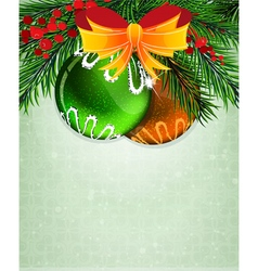 Christmas baubles with orange bow vector