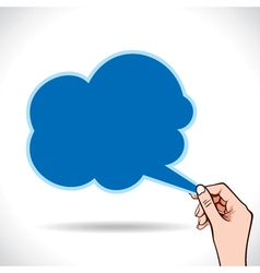 Cloud shape message bubble in hand vector