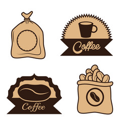 Coffee label sac beans cup desgin vector