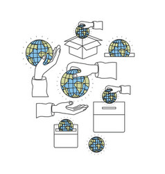 Color silhouette image set hands depositing globe vector