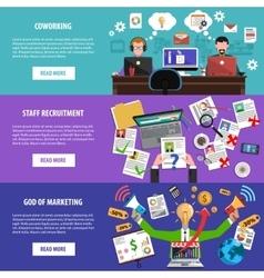 Freelance recruitment concept flat banners set vector