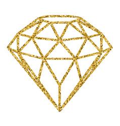 Geometrical golden glitter diamond isolated on vector