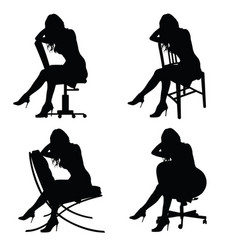Girl silhouette on chair set in black color vector