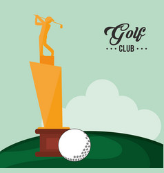 Golf club trophy and ball vector