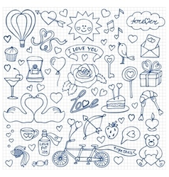 Hand drawn Love set on squared paper vector image