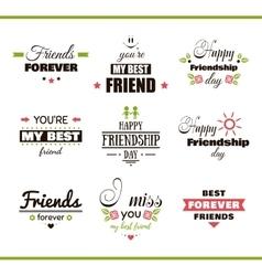 Happy friendship day color set vector
