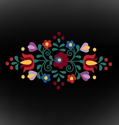Hungarian folk ornament on black background vector