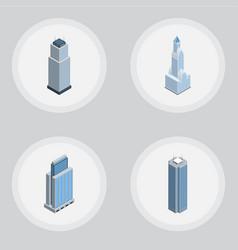 isometric building set of skyscraper urban vector image