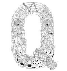 letter q for coloring decorative zentangle vector image vector image