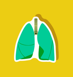 lungs and trachea paper sticker on stylish vector image