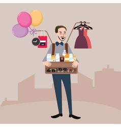 Man selling on the street balloon glasses clothes vector