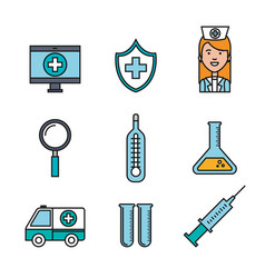 Medical equipment supplies healthcare icons set vector