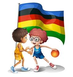 Olympics flag and basketball players vector image vector image