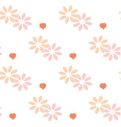 Ornament of hearts and flowers vector