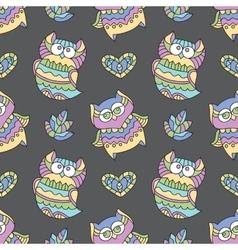 ornamental owls seamless vector image vector image